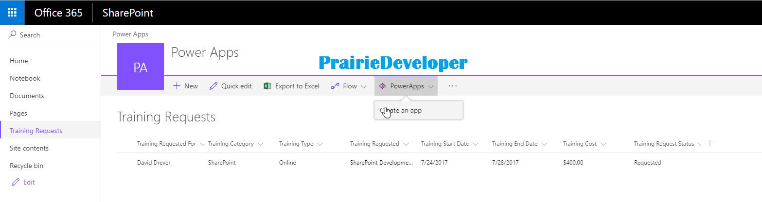 Creating a PowerApp from a SharePoint List - Little