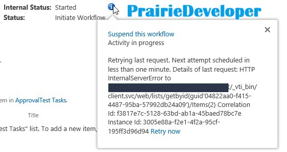 Another Cause of a SharePoint Workflow Stuck at Starting or