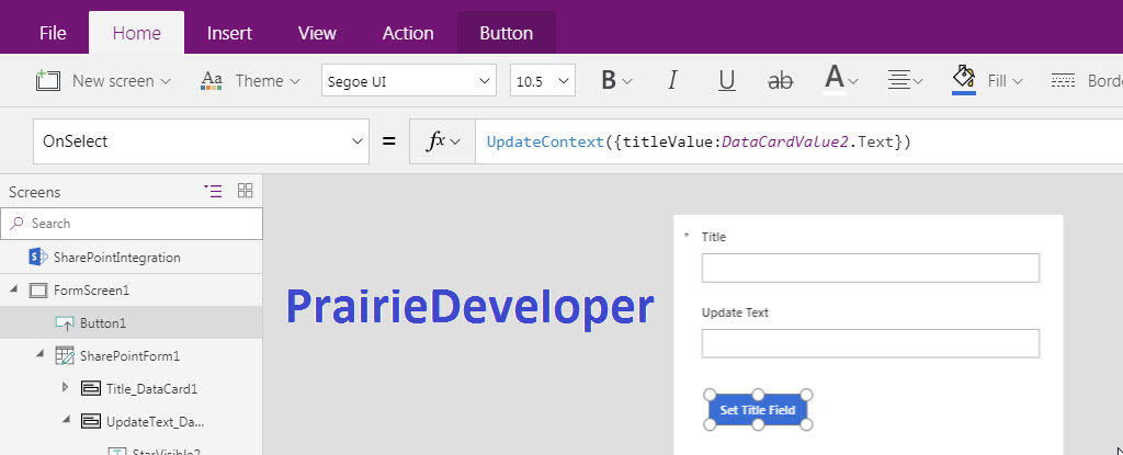 Microsoft PowerApps - Updating a Data Card from a Button