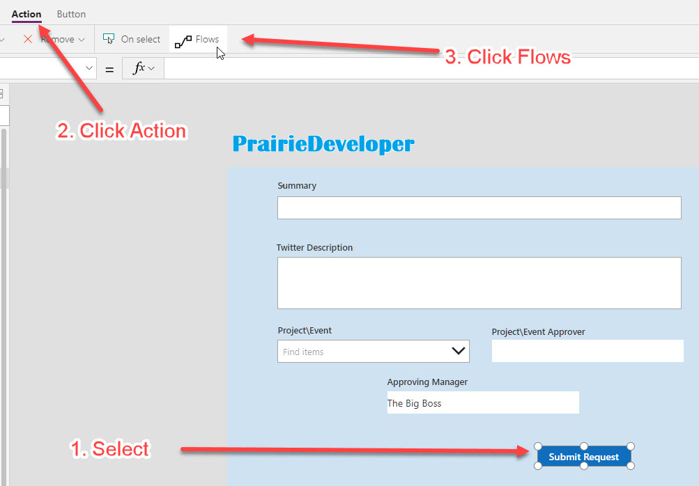 Office 365 - Starting a Microsoft Flow from a PowerApp